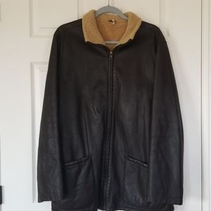 Jay Kos made in italy leather and shearling coat